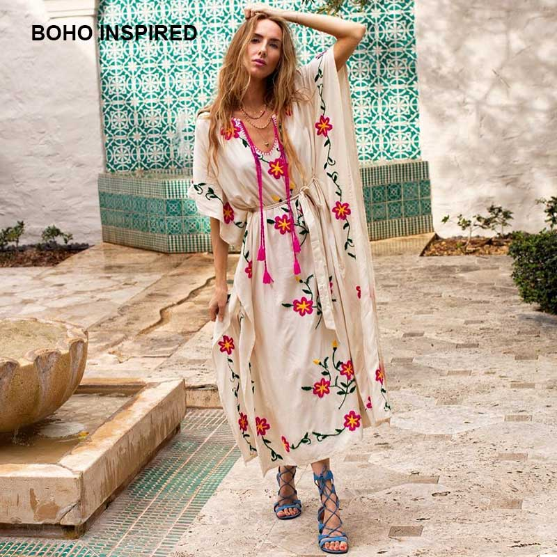 8811b50dad1 women s Oversized boho dress floral embroidered V-neck tassel summer dresses  sashes batwing sleeve long chic maxi dress kaftans ~ Free Delivery May 2019