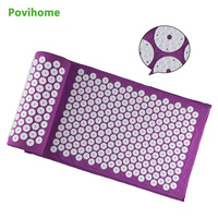 Povihome 1Set Massage Cushion Acupressure Therapy Mat Relieve Stress Pain Relief Acupuncture Spike Yoga Mat With