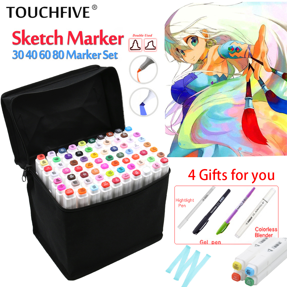 Touchfive 80Colors Art Marker Set Oily Alcoholic Dual Headed Artist Sketch  Markers Pen For Animation Manga Design sta artist twin tips sketch dual tip art marker set 12 24 colors alcohol based manga art markers for design supplies