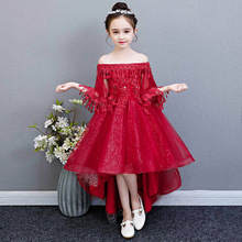 Children's princess dress 2019 new piano show host girl off shoulder fishtail dress  dress