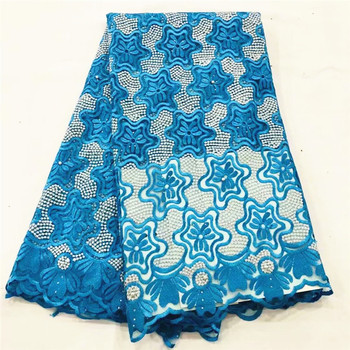 Sky blue lace fabric 2019 high quality african lace with beads embroidered french lace fabric for women dress