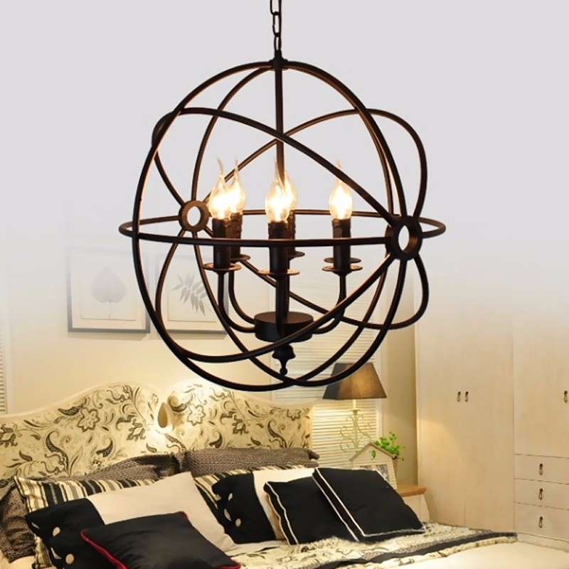 цены  Vintage Iron E14 Globe Light 6 Bulb Orb Chain Candle Pendant Lamp Lighting Fixture Cover Base For Restaurant Home Decor 220V