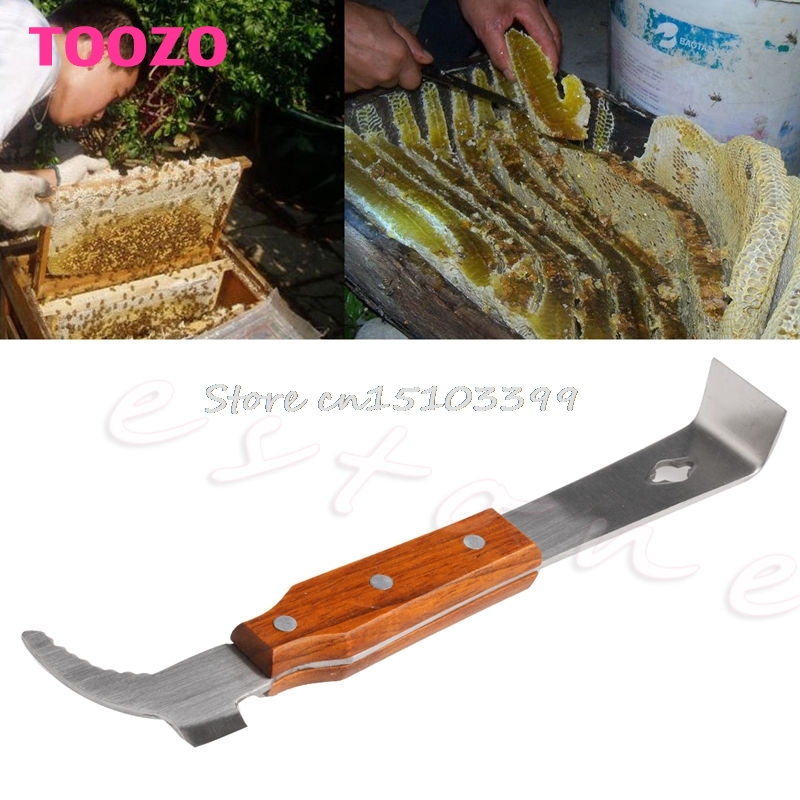 Wooden Handle Bee Hive Hook Scraper Stainless Steel Beekeeping Tools Equipment 134cm stainless steel full metal hoe with long handle digging tools real farming equipment ancient chinese spades