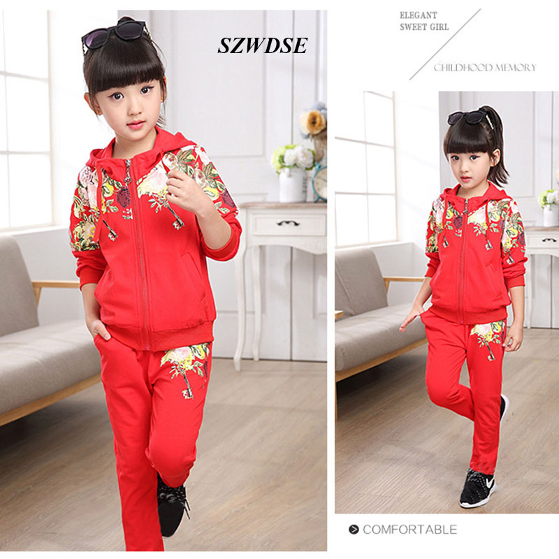 Kids Clothes Autumn Winter thicker Hoodes Pants Two-pieces Suit Cotton Teenage Costume Girls Clothing Sets 5-13 years Children