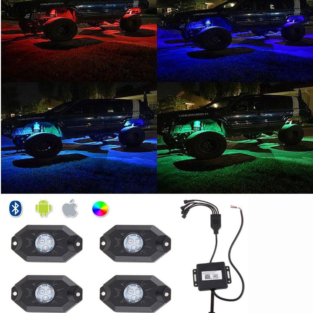 Honzdda 4 шт. 9 Вт RGB свет рок Наборы Bluetooth Управление синхронизации Multi-Цвет под автомобиль грузовик свет для off Road ATV внедорожник 4x4 Лодка 4WD