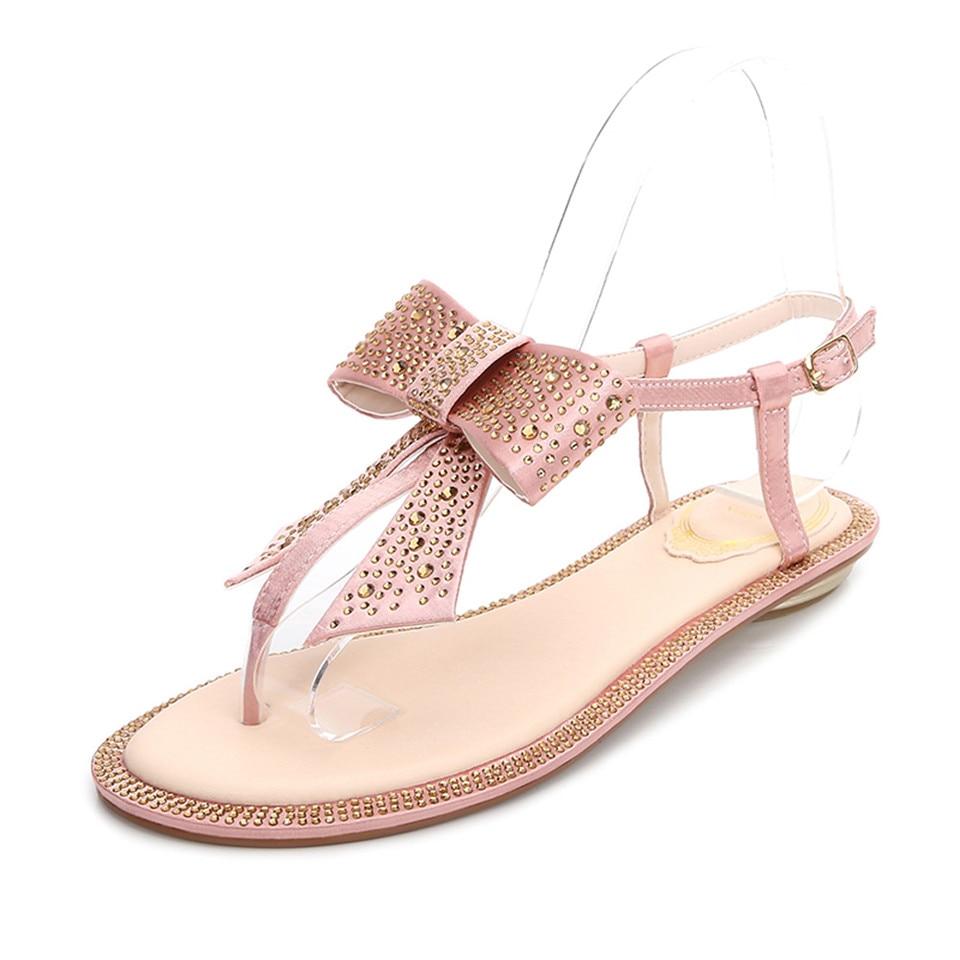 Knsvvli luxury silk bowtie flat sandals flip flop shoes crystal butterfly knot buckle strap boho women casual beach sandals