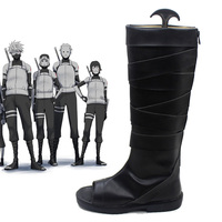 Naruto Neenya Anbu Kakashi Ninja Black Leather Shoes Naruto Carnival Cosplay Costume Shoes Halloween New Free