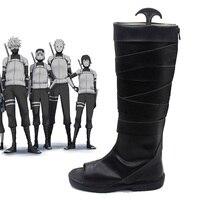 Naruto Neenya anbu Kakashi Ninja Black Leather Shoes Naruto Carnival Cosplay Costume Shoes Halloween New Free Shipping