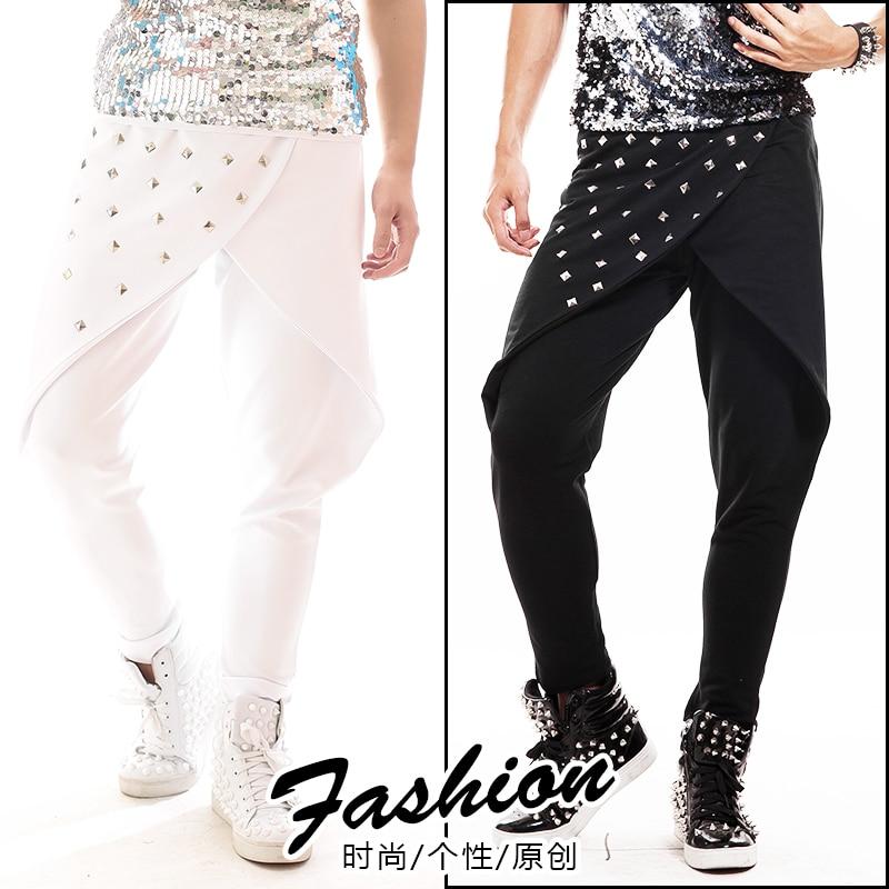 Harem Pants Clothing Stage-Costume Hip-Hop Street-Dance Nightclub Men's Fashion DJ Rivet