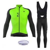 2017 Green Set Jersey Pro Cycling Jersey Fleece Thermal Winter Cycling Clothing Long Set MTB 9D