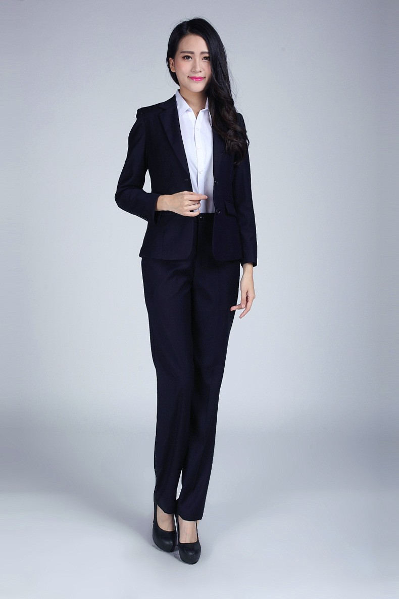 Suits & Sets Pant Suits Plus Size S-3xl Dark Blue Women Pants Suits For Work Wear Single Breasted Business Formal Ladies Suits Conjuntos Trajes Pantalon