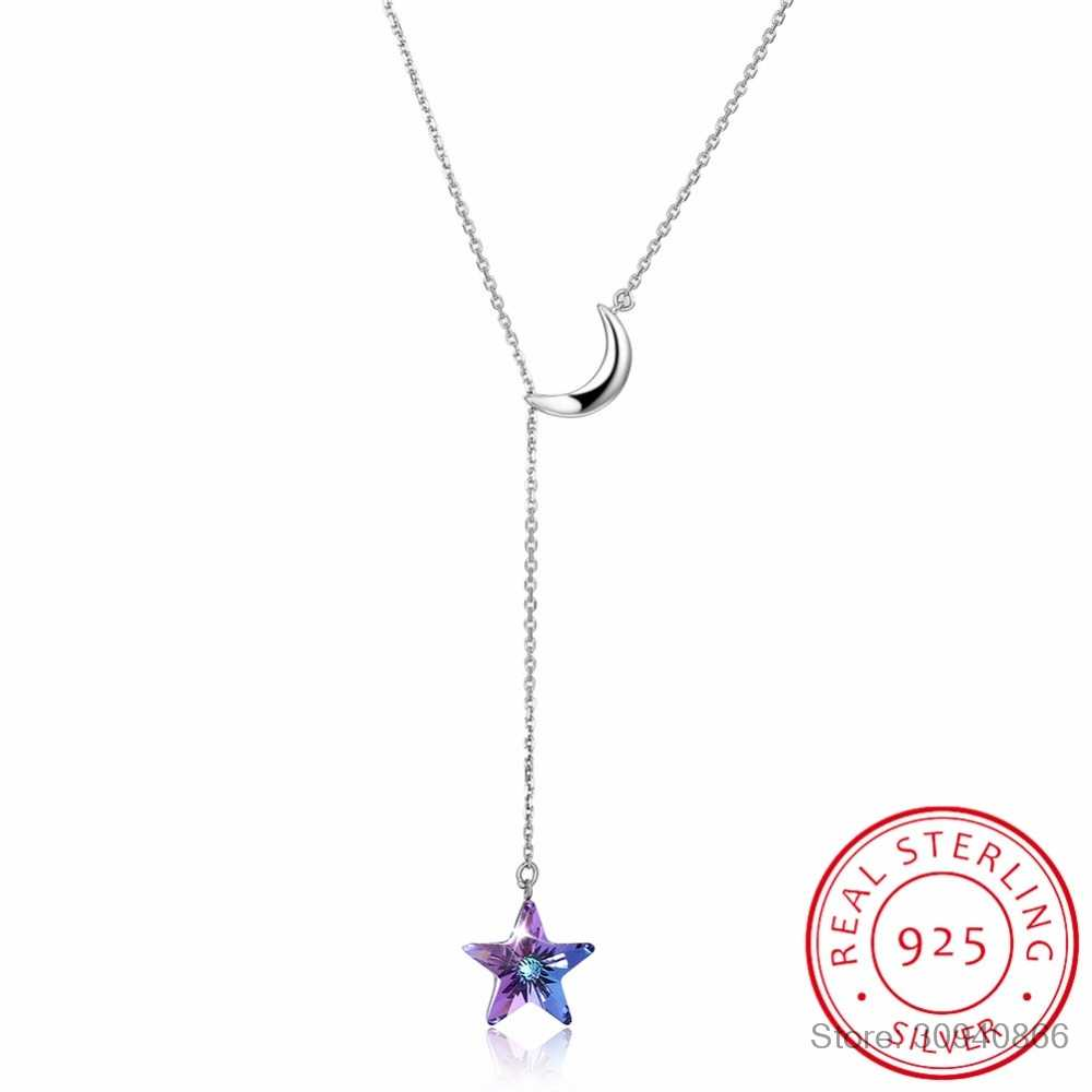 LEKANI Crystals From SWAROVSKI Long Chain Necklaces Pendants Real 925 Silver Moon Star Collares For Women Gifts Fine Jewelry