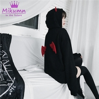 Harajuku Hoodies Punk Gothic Girls Black Devil Horn Hoodies Casual Loose Women Sweatshirt Female Hoodies Pullovers Halloween Top