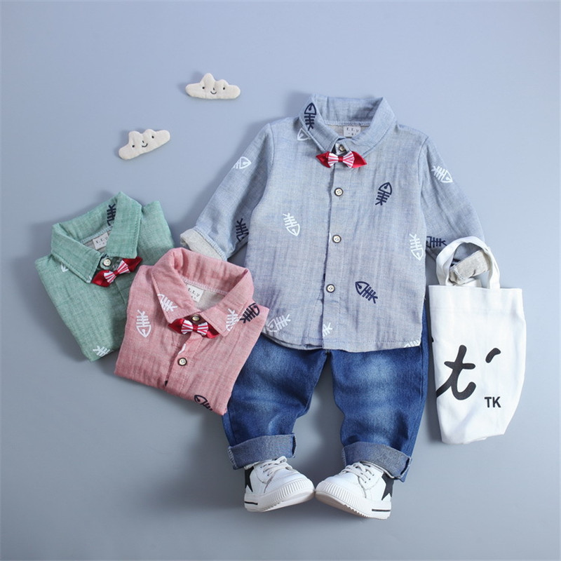 2018 Baby Boy Girl Clothes Set Baby Long Sleeve Cartoon Fish Shirt+ Jeans Children Suit Kids Suit Clothing Set 2pcs set baby clothes set boy