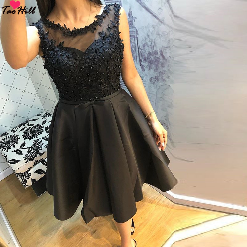 TaoHill Cheap Black Cocktail Dress Knee Length Elegant Lace Short Party Dresses Gown Scoop Neck with Pearls Satin Dress