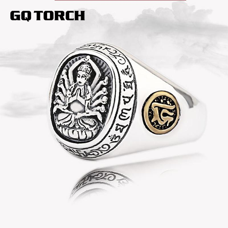 Real 925 Sterling Silver Opening Rings For Men Eight Buddhist Deities Of Twelve Zodiac Patron Saint Vintage Ethnic Fine Jewelry striped patchwork character girl dresses long sleeve cute mous kids clothing girls dress denim spring summer children clothes
