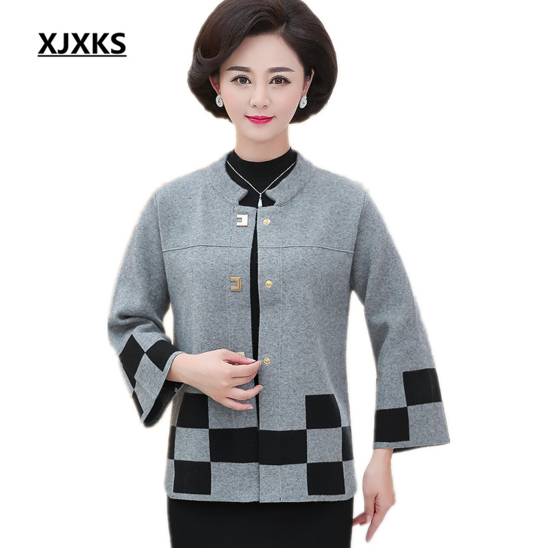 XJXKS 2018 autumn and winter new loose large size women s wool woolen coat fashion Mandarin