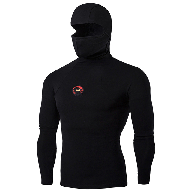 So Cool 2016 Super Stretch Ninja Kung Fu Sweatshirt Long Sleeve Dragon Badge Face Mask Mens Hoodies Compression Slim Fashion