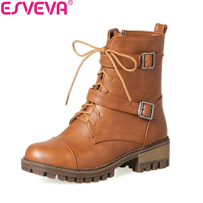 ESVEVA 2018 Buckle Women Boots Round Toe Black Solid Square Med Heel Synthetic Ankle Boots PU Leather Ladies Shoes Size 34-43 esveva 2018 synthetic pu women boots square high heels ankle boots round toe fashion short boots zippers ladies shoes size 34 42