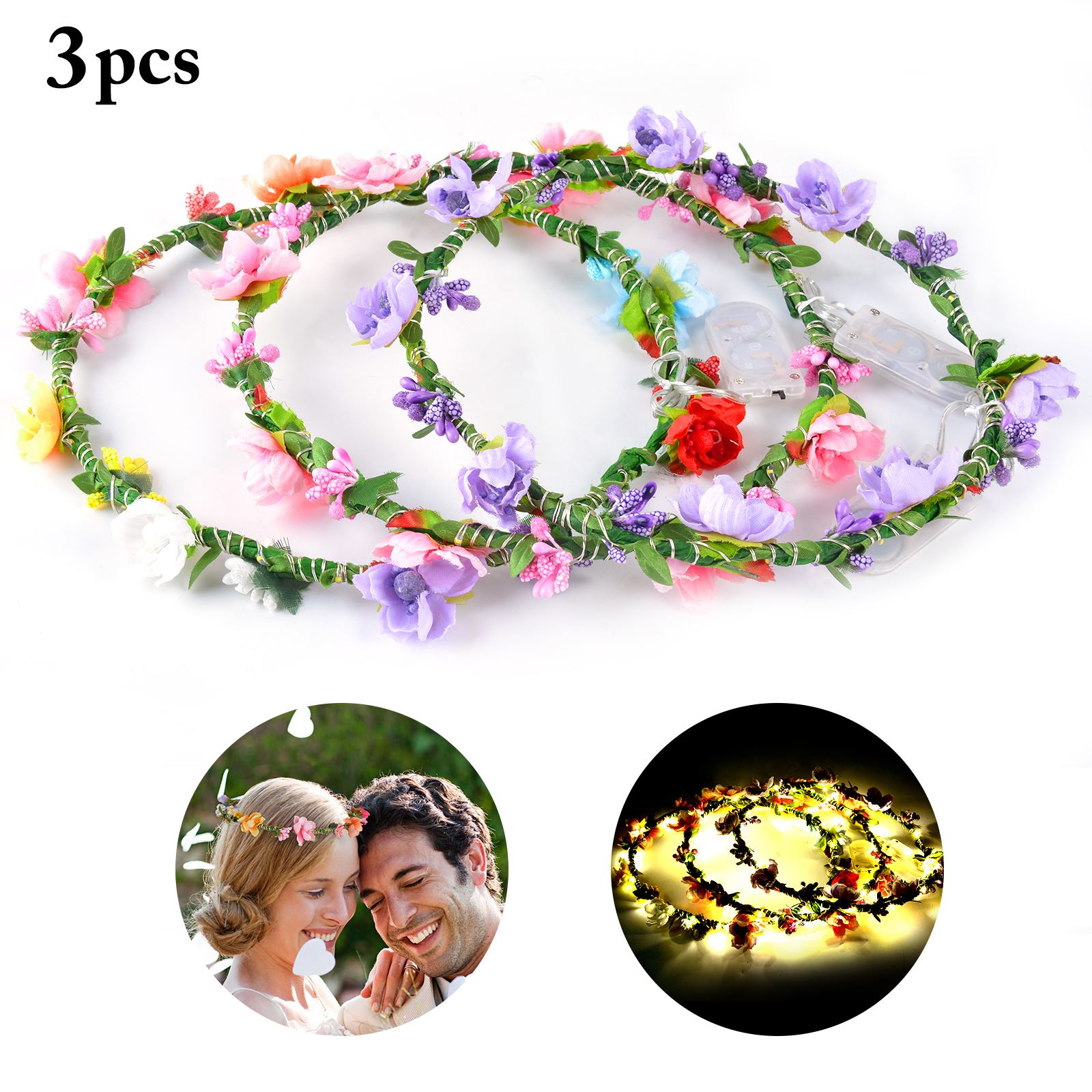 3pcs Wedding Party Crown Flower Headband Led Light Up Hair Wreath Hairband Garlands Women's Christmas Glowing Wreath With The Most Up-To-Date Equipment And Techniques