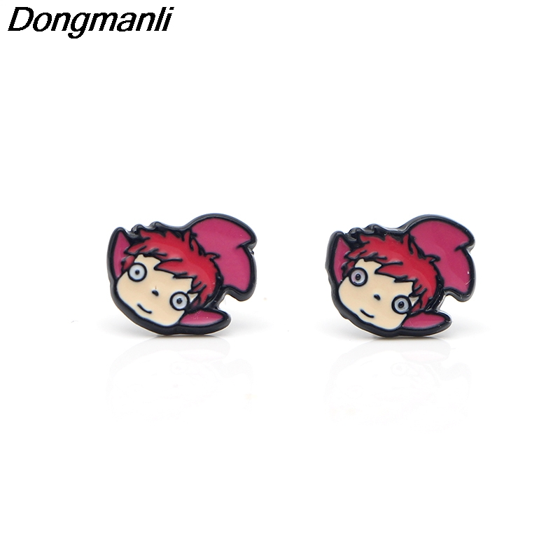Dongmanli Cartoon Gake no ue no Ponyo Alloy Stud Earrings women kids cute Earrings Charm Earrings jewelry gifts M2093