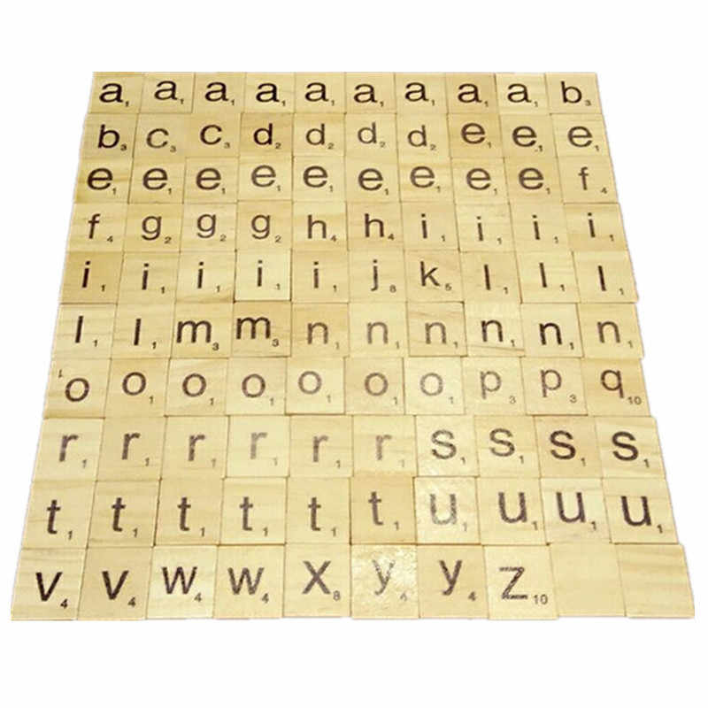 100pcsset English Words Wooden Letters Alphabet Tiles Black Scrabble Letters Numbers For Crafts Wood