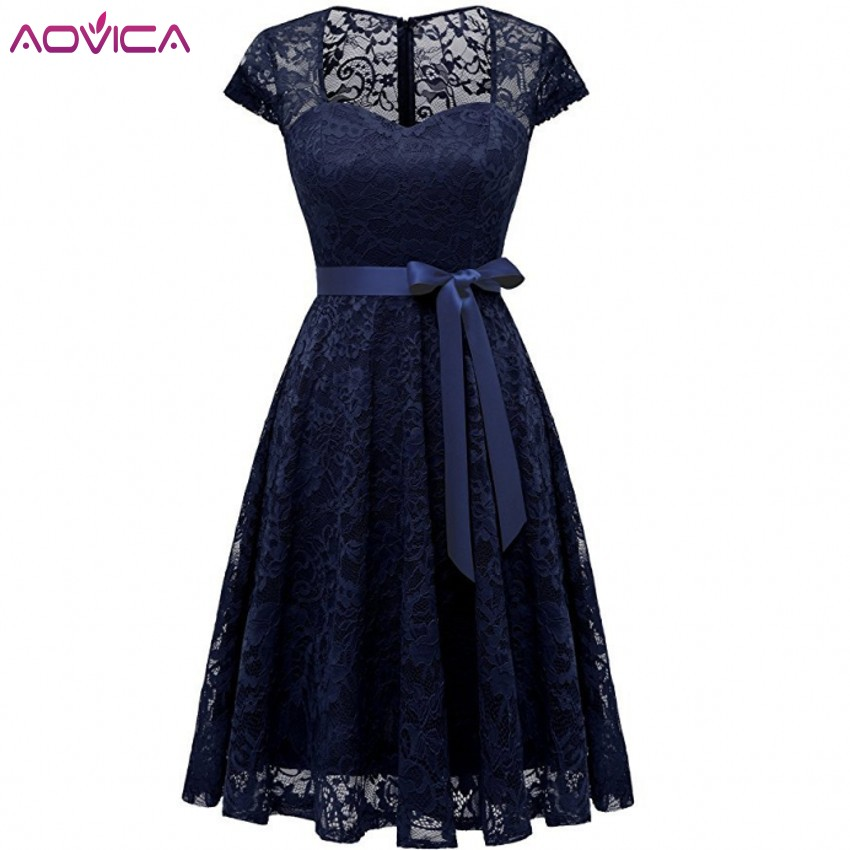 Aovica Robe Femme Embroidery Vintage Lace Dress Women Dresses Short Sleeve Casual Evening Party A Line Plus Size Dress Vestidos
