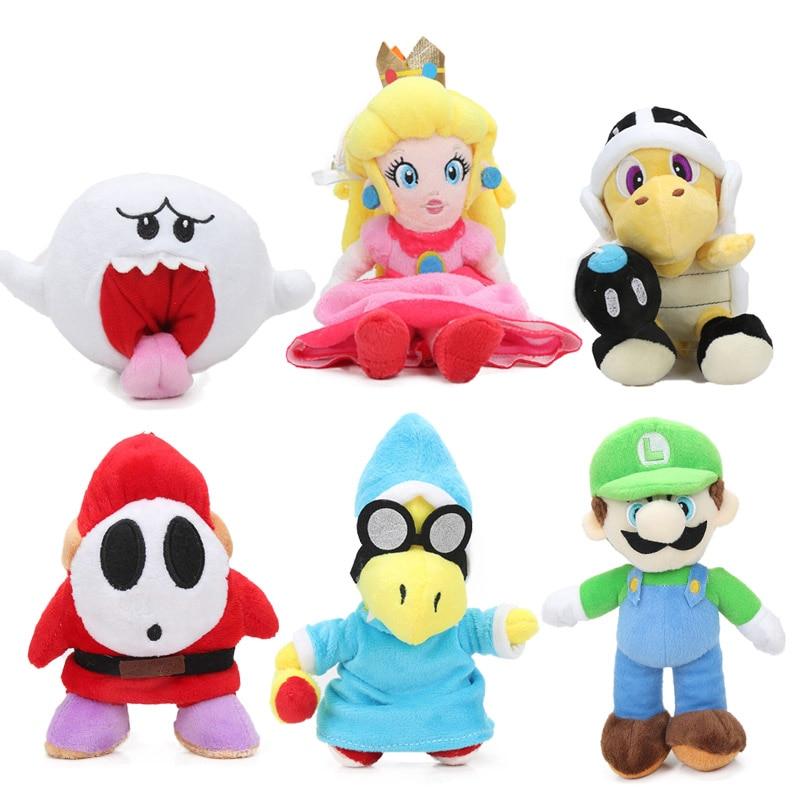 6-25cm Super Mario Plush Toy Super Mario Bros Luigi Dry Bones Toad Yoshi Princess Peach Daisy Plush Doll Toys Birthday Party Lot