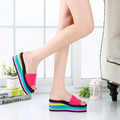 2017 New Casual Non-slip Rainbow Platform Sandals Wedges Women Sandale Femme High Heel Slippers Summer Beach Shoes Sandals O904