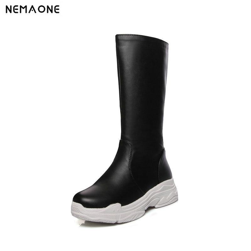 NEMAONE Flat platform shoes woman black white women mid-calf boots autumn winter Waterproof Women Fashion Casual Boots цена