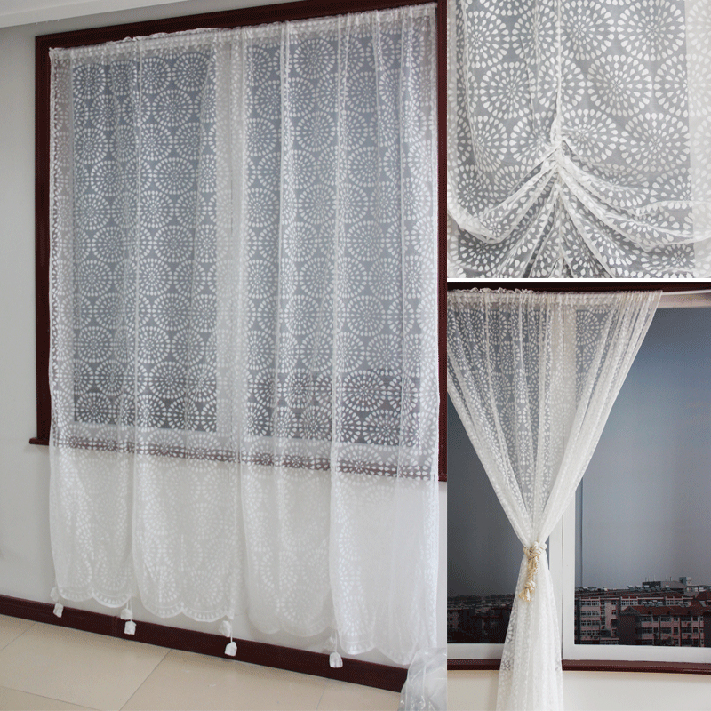 Wonderful American Country Style Decorative Lace Curtain Polyester Fabric Curtains  For Living Room Cortinas Sheer Tulle Final