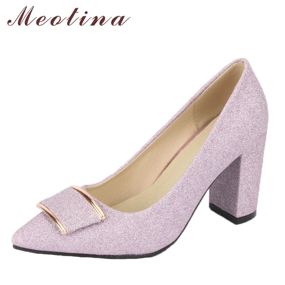 Meotina Women Pumps High Heels Party Shoes Pointed Toe Thick Heel Elegant Shoes Purple Bridal Wedding Shoes 2018 New Size 33-43 women luxury shoes platform pumps bridal wedding lolita shoes black red beige bottom peep toe high heels fetish shoes size 4 16