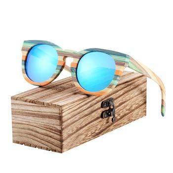 Lunettes de soleil en bois Rondes Monture Bambou Verte + Coffret
