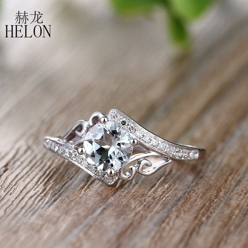 HELON Sterling Silver 925 Round Cut 6mm 100% Genuine Aquamarine Natural Diamond Engagement Wedding Gemstones Fine Ring wholesale