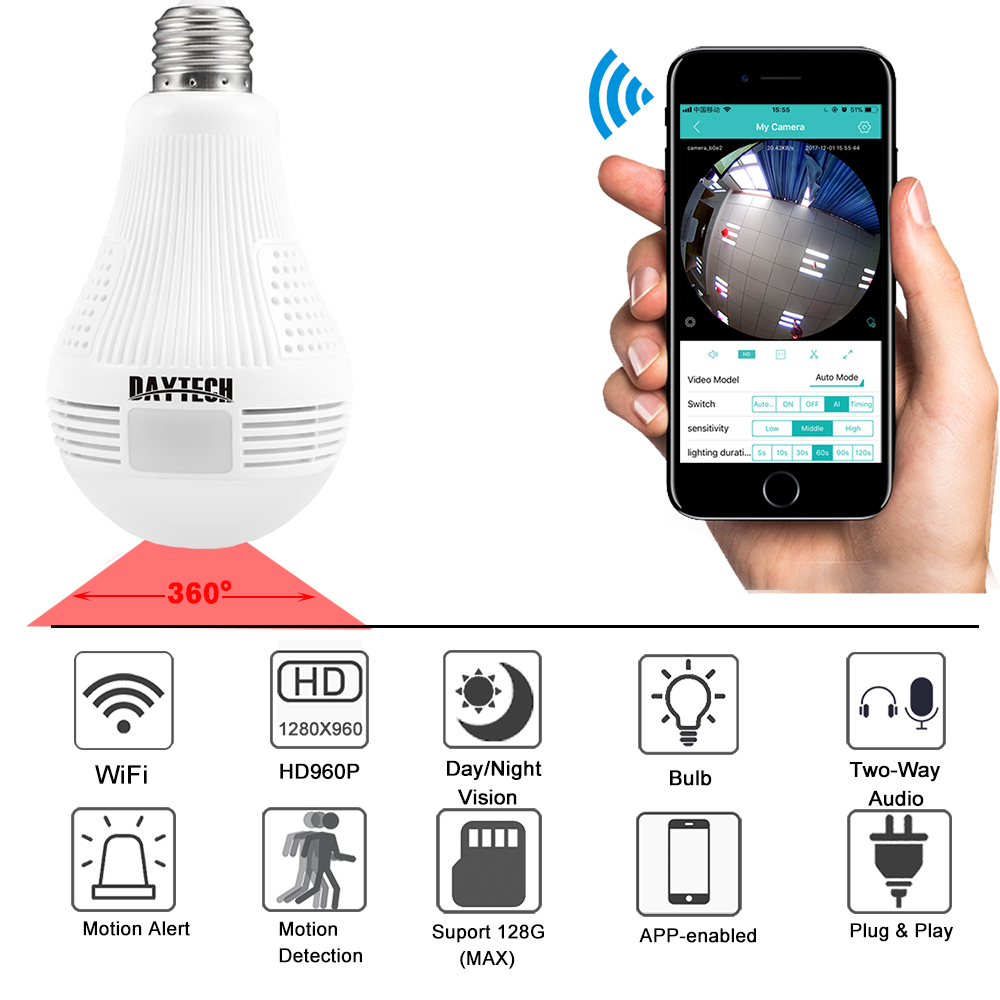 DAYTECH Wireless IP Kamera WiFi Home Security Kamera HD 960 p Baby Monitor 360 grad Fisheye Panorama Kamera Lampe