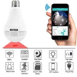 Daytech câmera ip sem fio wifi câmera de segurança em casa hd 960 p monitor do bebê 360 graus fisheye câmera panorâmica lâmpada