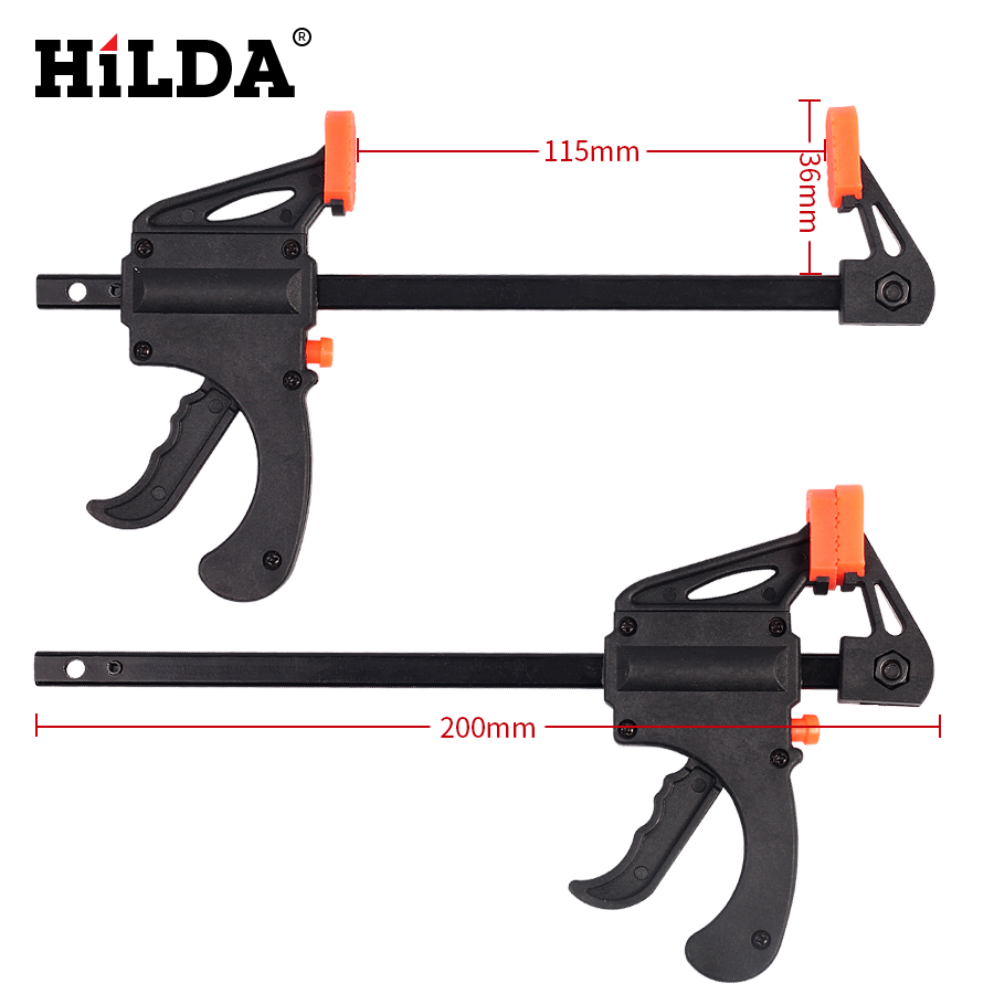 HILDA 2PCS 4 Inch Wood-Working Bar Clamp Quick Ratchet Release Speed Squeeze For DIY  Hand Tool