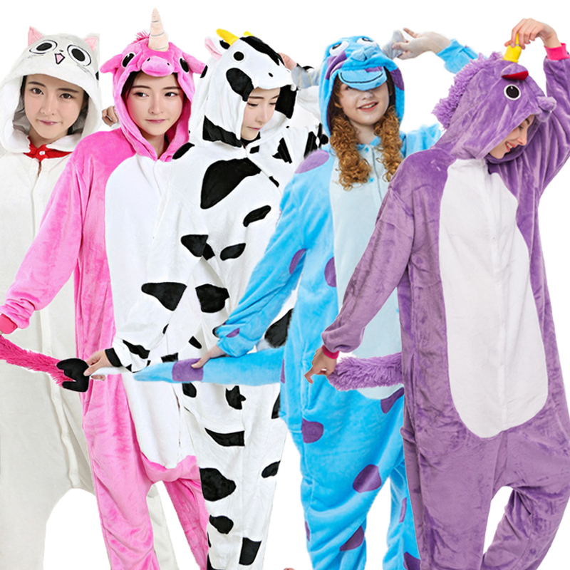 Flanella Adulto Animale pijama Unicorn pigiami per le donne Homewear Unisex Totoro Pikachu Morbida e confortevole Indumenti Da Notte Con Cappuccio Onsie