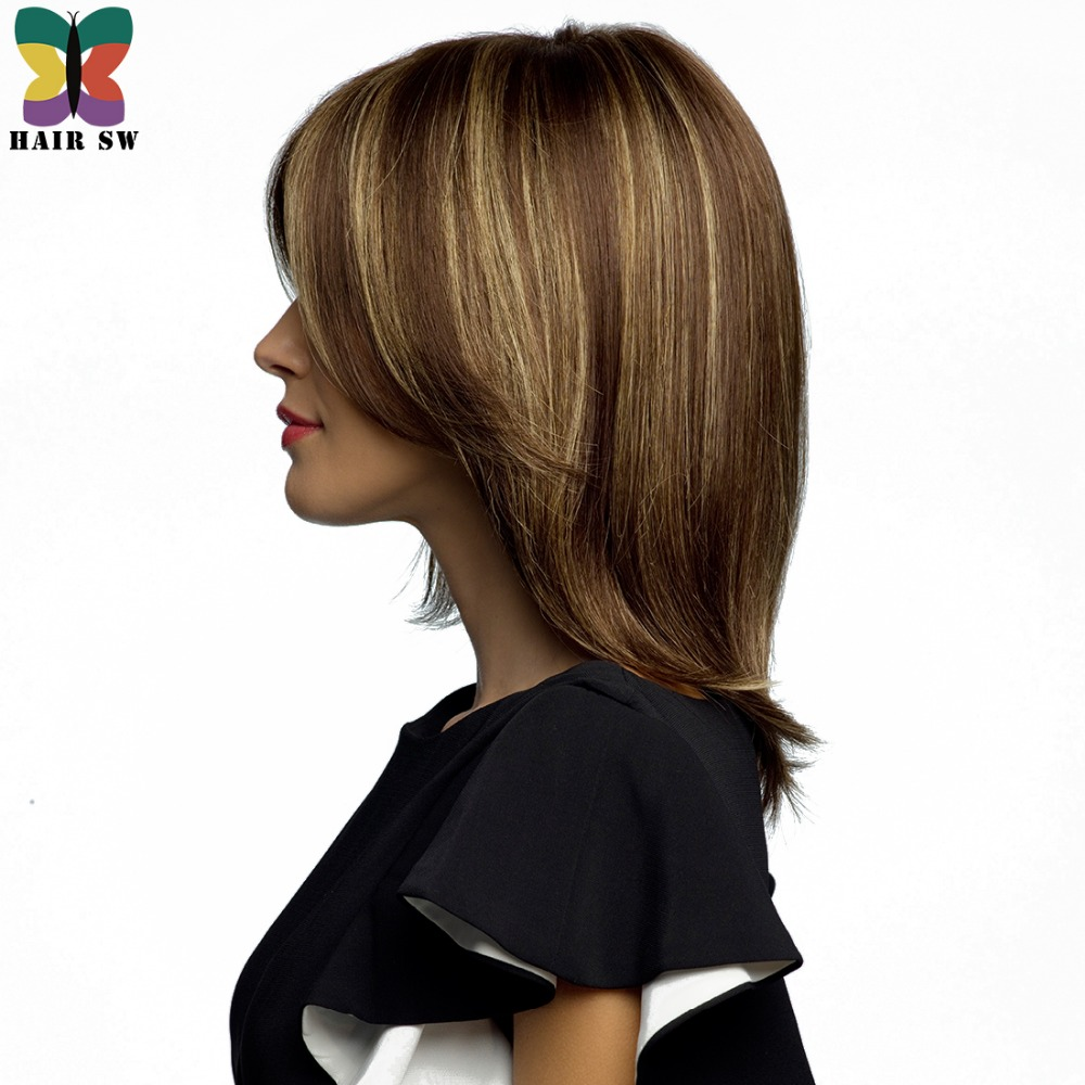 Us 19 99 Hair Sw Medium Length Straight Bob Wig Brown Hair Blonde Highlights Synthetic Layered Haircuts Women S Wig With Side Bangs In Synthetic