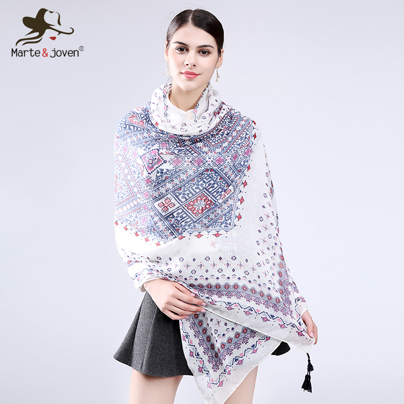 Marte&Joven Fashionable White Blue Geometric Twill Polyester Women Scarves Shawls New Design Plus Size Ladies Pashmina Stoles