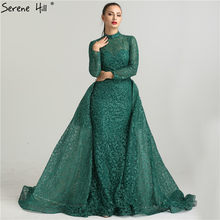 Mode Sirène De Luxe Paillettes Vin Rouge Robe de Soirée Manches Longues  Gliter avec train Robes c1e7a05c2e6c