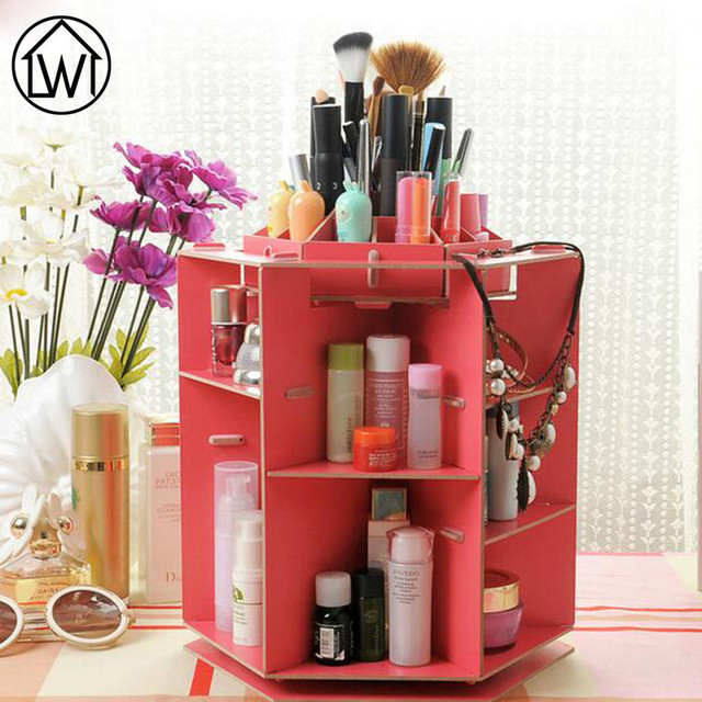 360 Degree Wooden Rotatable Jewelry Makeup Cosmetics Jewelry Storage