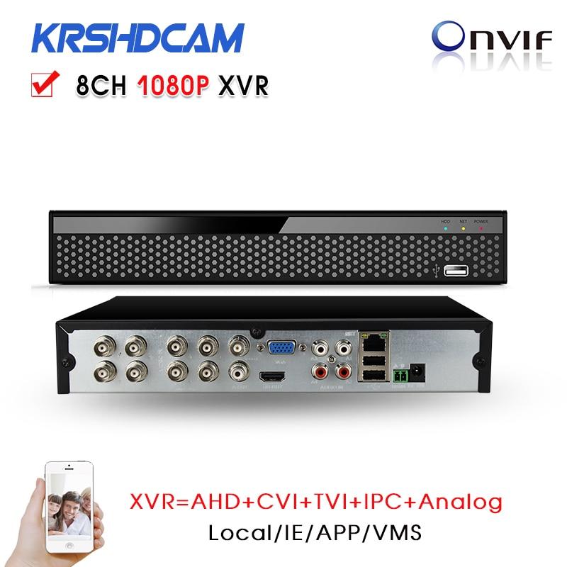 8Channel 1080P Hybrid XVR for CVI/TVI/AHD-M AHD-H DVR 960H D1 P2P IP recorder ONVIF Network NVR H.264 for 2MP IP Camera 5 in 1 security cctv dvr 4ch ahd 1080n h 264 hybrid video recorder for ahd tvi cvi analog ip camera onvif hdmi 1080p output