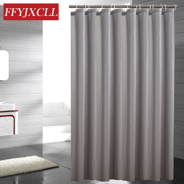 Modern Polyester Solid Color Shower Curtain Waterproof Mildew Thicken Home Gray Bathroom Custom Made
