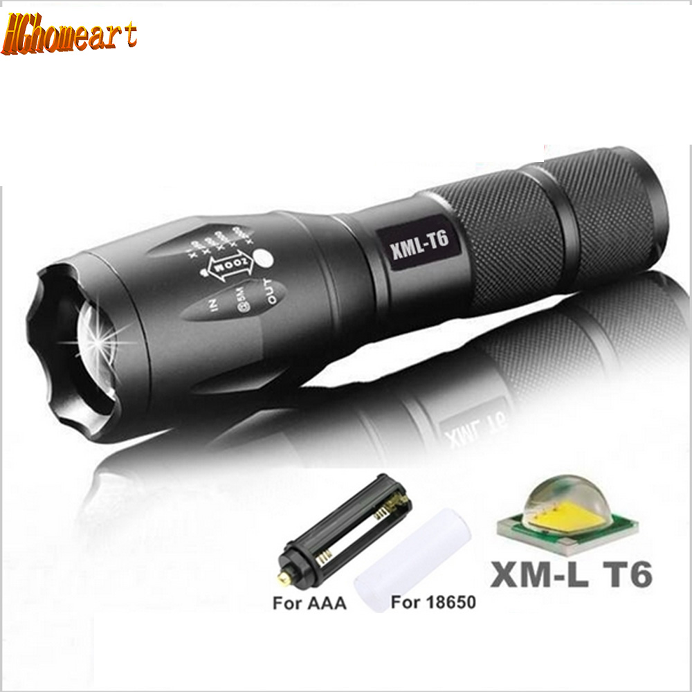 5-Mode E17 XM-L T6 3800LM Aluminum Waterproof led flashlight Zoomable Torch light for 18650 Rechargeable Battery or AAA 2018 led flashlight 18650 torch waterproof rechargeable xm l t6 4000lm 5 mode led zoomable light for 3x aaa or 3 7v battery