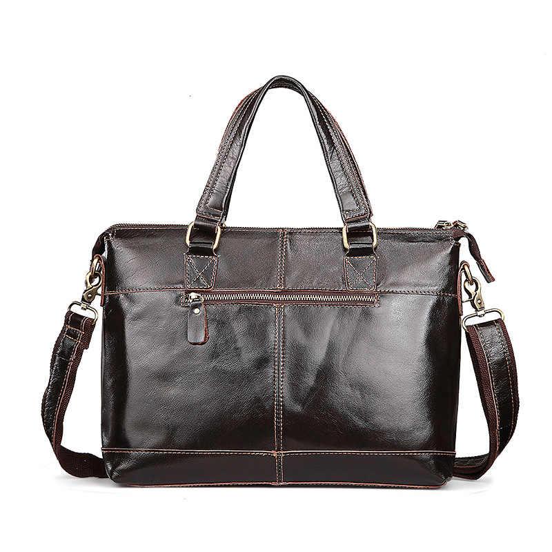 Maletín de cuero genuino para hombre, maletín de piel Vintage de alta calidad, bolso de diseño de marca Sac a main 2018