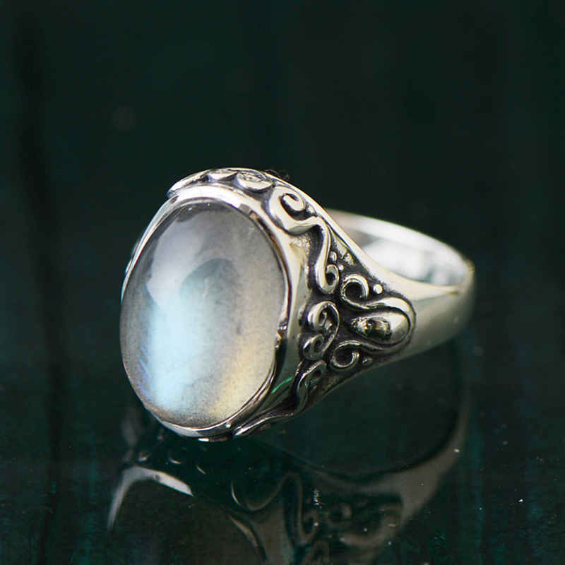 Guaranteed 925 Sterling Silver Jewelry Moonstone Ring Vintage Christmas Gifts For Women Natural Fine Jewellery Bague ArgentGuaranteed 925 Sterling Silver Jewelry Moonstone Ring Vintage Christmas Gifts For Women Natural Fine Jewellery Bague Argent