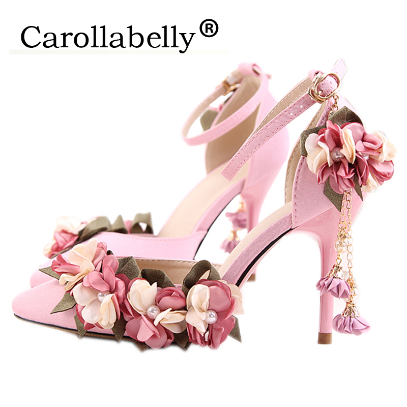 2017 Flower Women Sandals Ankle Strap High Heels 9cm Shoes Wedding Party Women Shoes zapatos mujer Size 4~9 женские кеды shoes women huarache zapatos mujer ws6 4 shoes women5354
