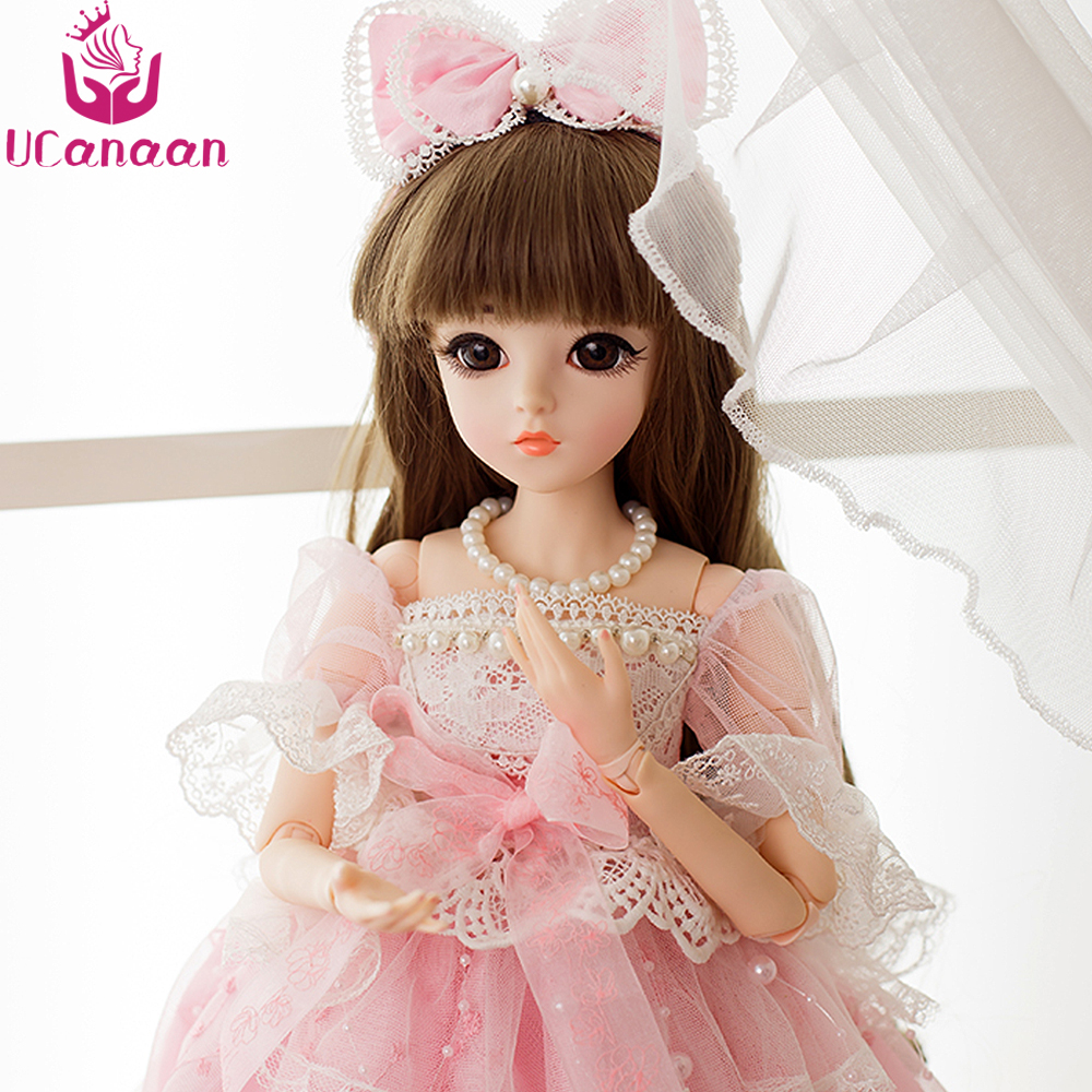 UCanaan 1 3 SD BJD Doll 18 Joints With Shoes Wigs Makeup Pink Party Dress  Girls Toys Beautiful Dolls Reborn Girl Best Gifts 1aa8bbdb8ba0