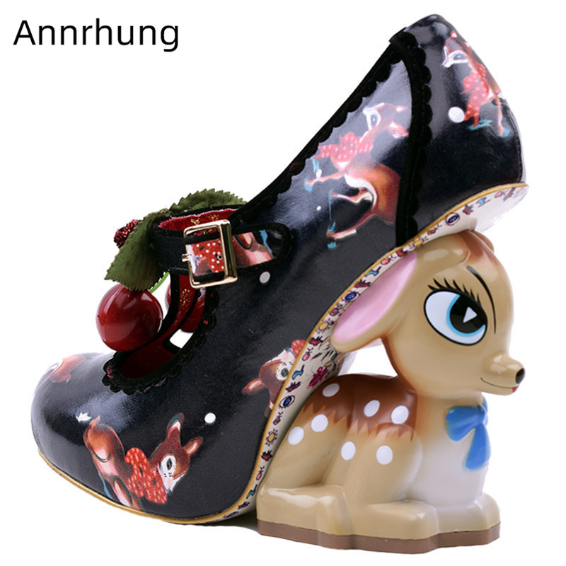 Cherry Decor Pumps Cute Deer Heel Women Shoes Round Toe Deer Print Slim Shoes Strange Heel Shoes Women Pumps Zapatos Feminina